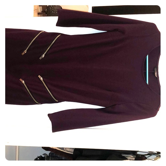 Express Dresses & Skirts - Express body con burgundy two zipper front dress